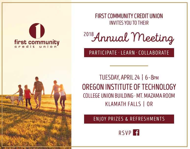 An annual meeting will be held on Thursday, April 12, 2017 from 6 to 8 pm at the Pendleton Convention Center in Pendleton, Oregon. Those in attendance will be entered in a drawing for a chance to win prizes.