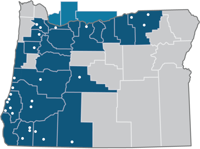 A map of Oregon displaying First Community branch locations.