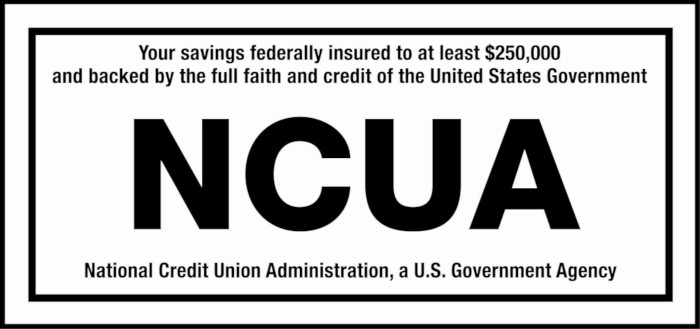 NCUA Logo: Your savings federally insured to at least $250,000 and backed by the full faith and credit of the United States Government. National Credit Union Administration, a U.S. Government Agency