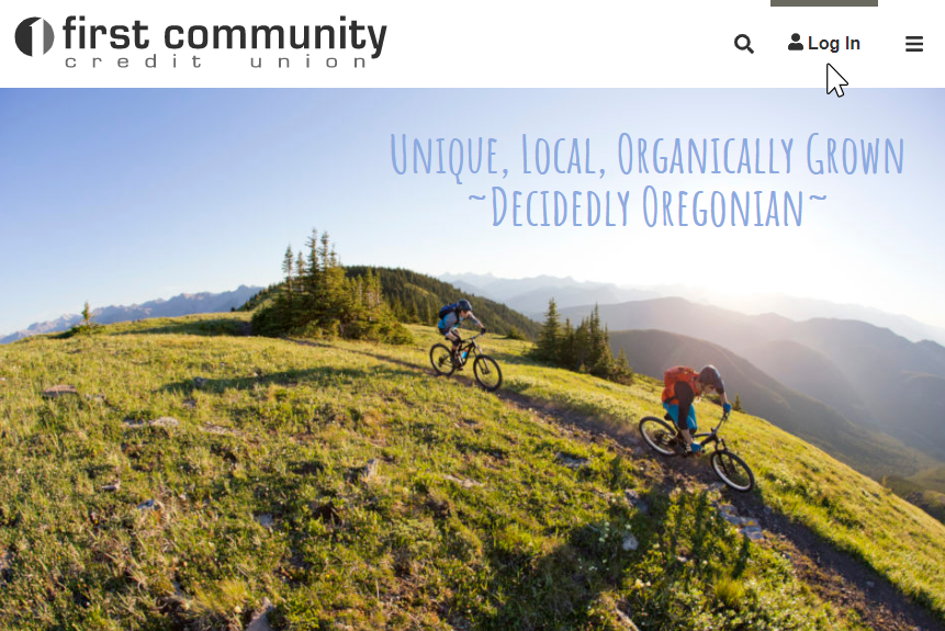 image of First Community Credit Union home page