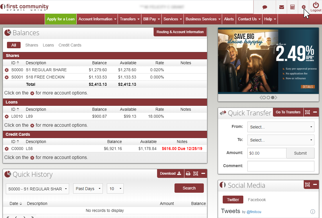 image showing logged in online banking page, with settings gear in top right corner