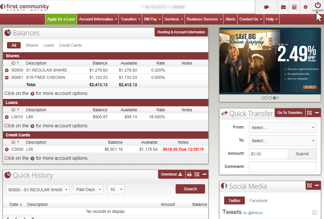 image showing main online banking menu, with log out button in top right corner