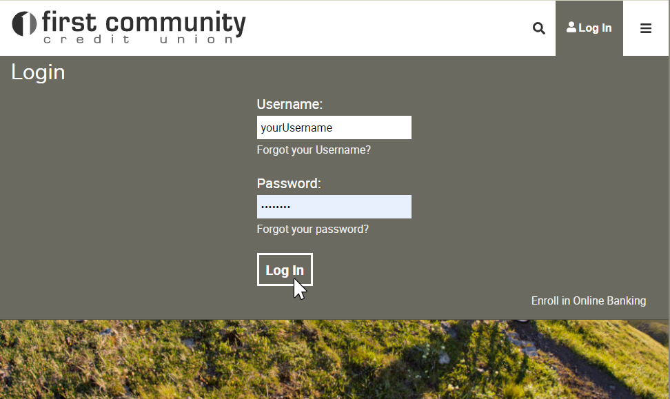 image of main home page, with log in menu down and username / password filled out