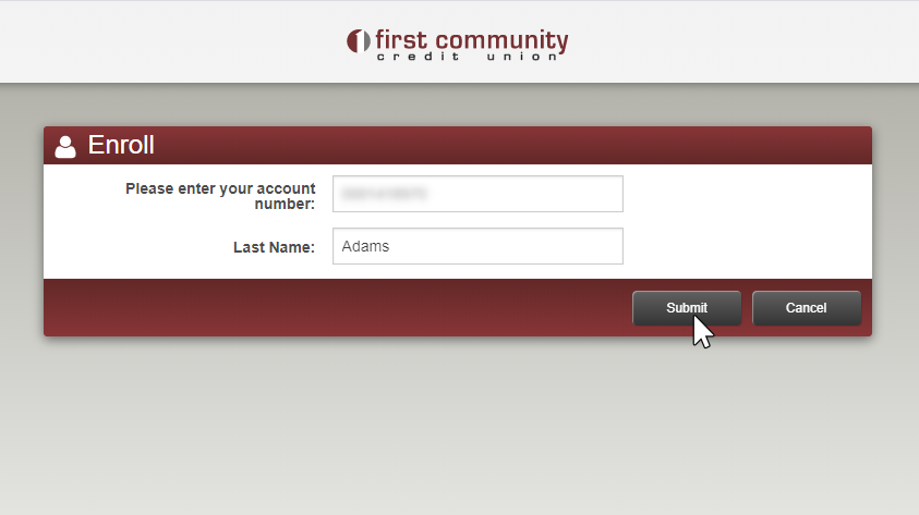 image of first enroll screen
