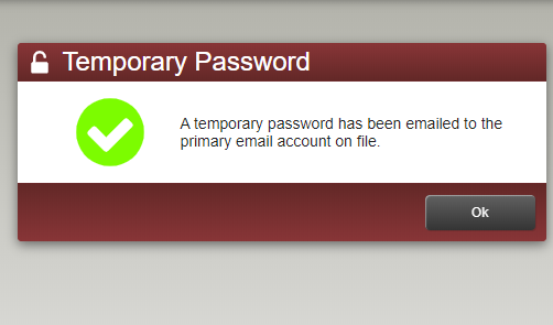 image with message about temporary password being sent to email