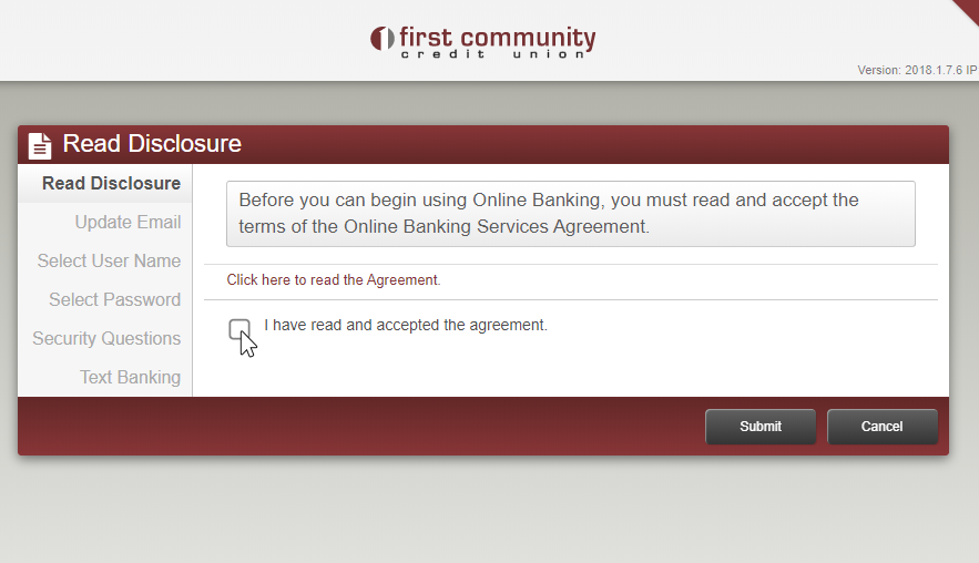image showing check box for reading online banking agreement