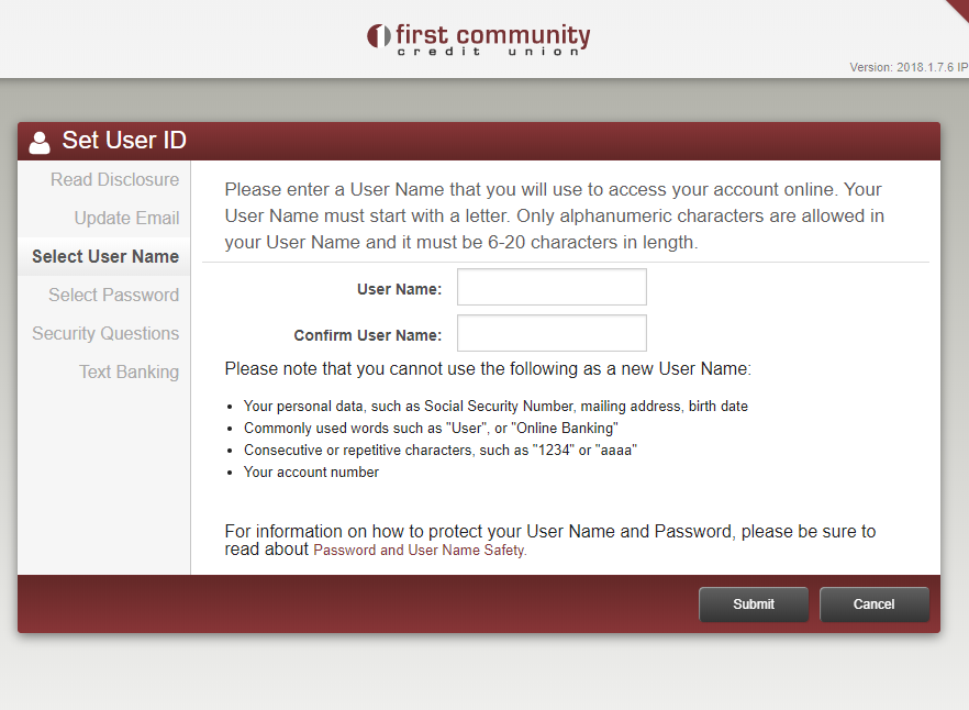 image showing form for adding user name