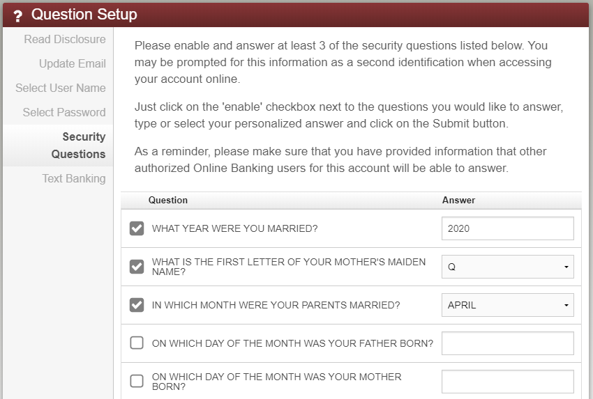 image showing checkboxes on left of security questions, with answer on right.