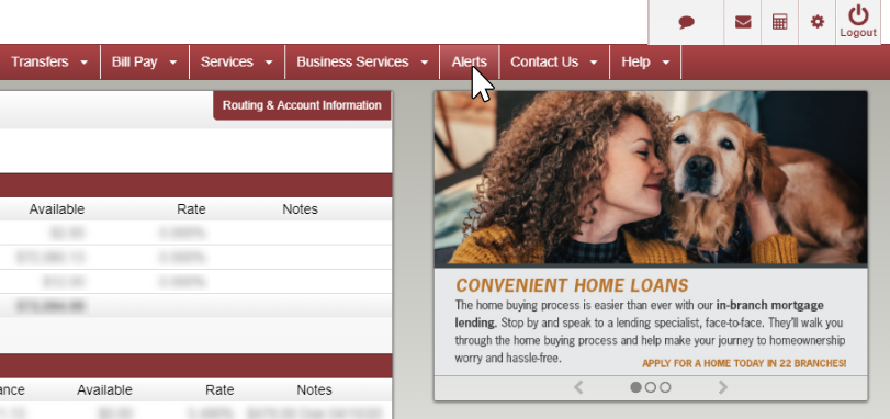 image of main online banking page with alerts selected in the nav bar