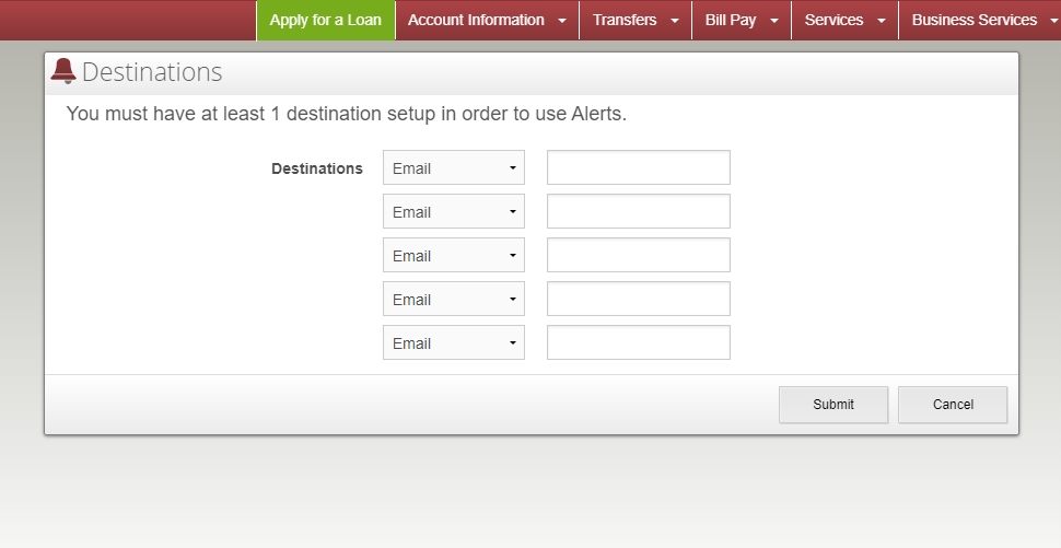 image of the add alert section of the alerts page with alert type drop down menu expanded