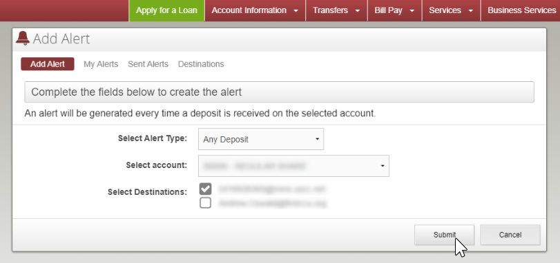 "image of additional options when ""any deposit"" is selected as alert type"