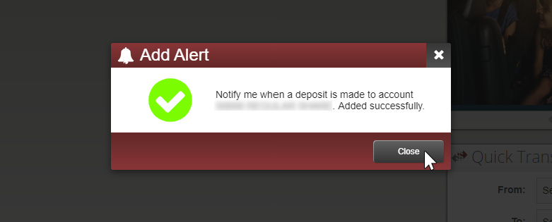 image of succeess message after alert is added