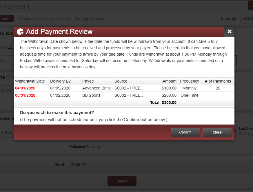 image of bill pay review screen, where all payments are listed with a summary of each