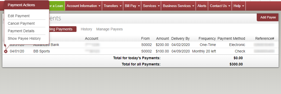 image of pending payments section of bill pay page. A gear is clicked with options above to take actions on the payment