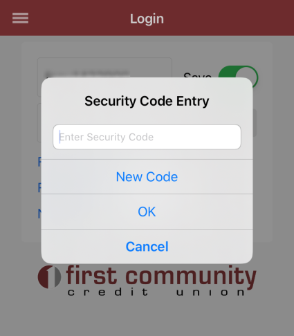 image showing security code entry form on an iphone