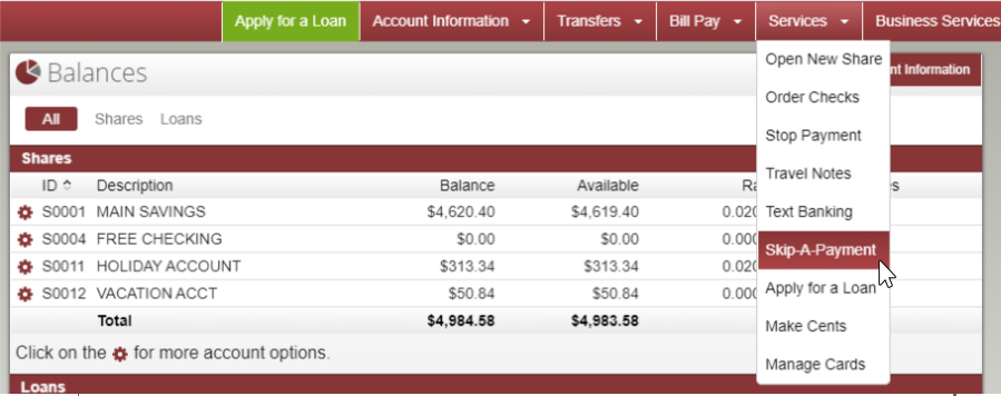 image of online banking main page with services menu expanded and skip a payment selected
