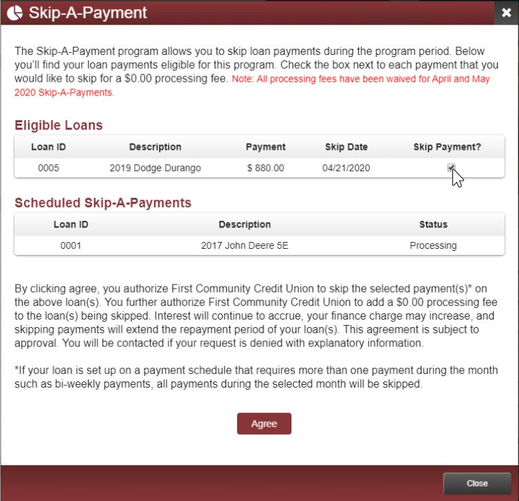 image of the skip a payment page showing eligible loans and checkbox used to skip payment