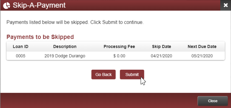 image of confirmation page showing summary of payments that will be skipped