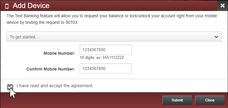 image showing a form for adding your mobile device number with a dropdown menu showing an agreement