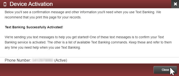 image showing active devices for text banking